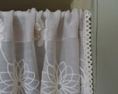 Rustic Gauze embroidered shabby chic Cafe Curtain