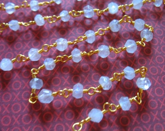 """16 to 36"""" Rosary Chain, Moonstone Finished Rosary Chain, Wire Wrapped Beaded Chain, Gold or Silver Plated, Gemstone Chain done drc solo rc17"""