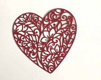 Heart with floral filigree  for card making  or scrapbooking set of 4