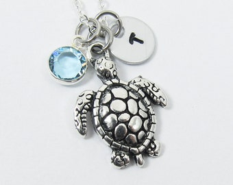Sea Turtle Necklace - Personalized Initial Name, Customized Swarovski crystal channel birthstone