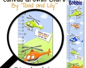 Canvas GROWTH CHART Helicopter Orange Blue Lime Green Boys Bedroom Kids Baby Nursery Height Growth Chart Wall Art GC0087