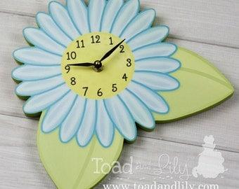 Turquoise Blue Garden Blossom Flower Wooden WALL CLOCK Girls Bedroom Baby Nursery Art Decor WC0029