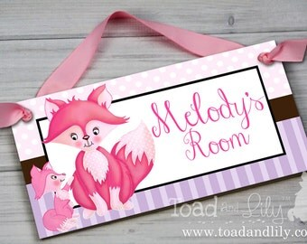 Girl Fox Baby and Me Woodland Forest Critters Nature Forest Foxes Pink Purple Girls Bedroom Nursery Kids Bedroom Door Sign Wall Art DS0211