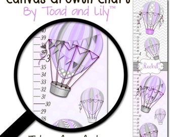 Canvas GROWTH CHART Hot Air Balloon Lilac and Gray Girls Travel Adventure Bedroom Baby Nursery Bedroom Wall Art GC0270