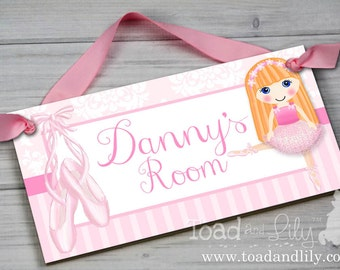 Pretty Dancing Ballerina Ballet Dance Ginger Red Hair Girl DOOR SIGN Pink  Damask Bedroom And Baby