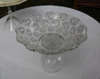 Cut Glass Serving/Candy/Fruit/ Candle Holder/Dish/upcycled