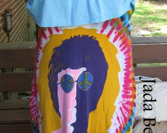 John Lennon Tie Dye Recycled Dress or Skirt