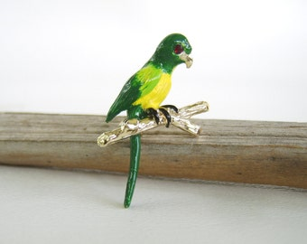 Vintage Green & Yellow Parrot Brooch Figural Bird Pin