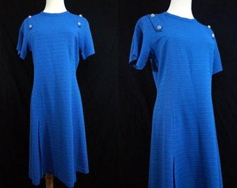 1960s Blue Scooter Dress A Line Short Sleeve Rhinestone Diamante Buttons Knee Length Medium