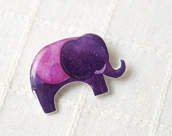 Baby Elephant brooch - Purple brooch - Cute animal brooch - Pink brooch - Elephant jewelry (BH013)