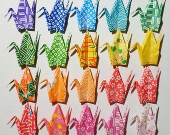 100 Small Origami Cranes Origami Paper Cranes - Made of 7.5cm 3 inches Japanese Washi Chiyogami Paper