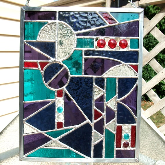 Geometric Stained Glass Panel in Midnight Blue, Teal Green, Purple and Red