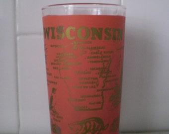 Vintage WISCONSIN Souvenir Novelty Drinking Glass
