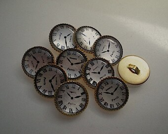 10 Paris clock buttons, 1/2 inch gold backed