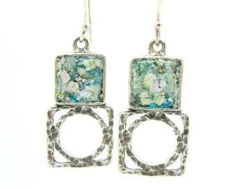 Silver earrings with roman glass, square & round