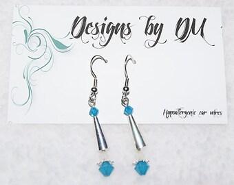 Silver cone earrings