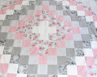 Quilt Top in Pink, Grey and White - Trip Around World - Free Shipping