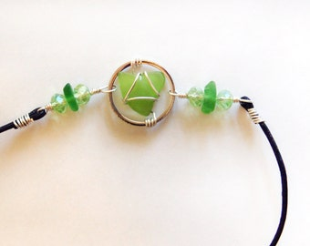 Sea Glass  Anklet with Heart Shaped Green Sea Glass