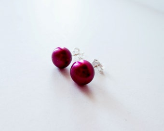 Wine red pearl earrings.  Silver stud earrings.  Post earrings.  7mm earrings.  Pearl stud earrings.  Burgundy pearl earrings.