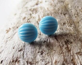 Small blue earrings. Baby blue earrings. Sky blue earrings. Light blue earrings. Blue stud earrings. Blue post earrings. Melon earrings.
