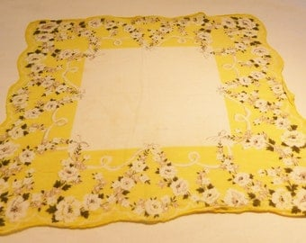 CLEARANCE handkerchief hanki flower print cotton vintage 50's yellow and white