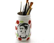 Frida Kahlo Vase or Brush Holder with poppy design on mason jar