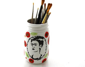 Frida Kahlo Vase or Brush Holder with poppy design on mason jar
