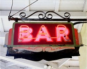 New Orleans Photography, Bar Sign Photograph, Retro neon, French Quarter, mid-century modern, gift for him, red black Mardi Gras, NOLA art
