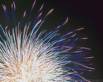 Firework Photography, Fireworks Bright Sparkling, Sparkle Colorful Abstract Wall Art, Minimalist Modern Decor, Dark Blue Celebration, Night