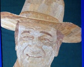 JOHN WAYNE  DUKE  Hollywood legend John Wayne, not a painting, print or photo but made with rice leaves  Ancient leaf art
