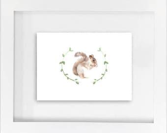 SALE! Squirrel w/ Garland Print
