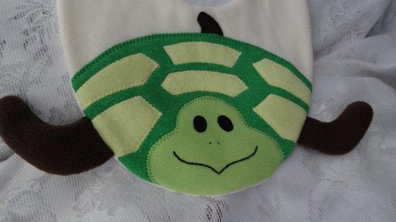 SALE - Turtle Bib, Infant Baby Bib, Animal Fleece Bib, Animal Bib, Baby Shower Gift, Baby Bib, Newborn Gift