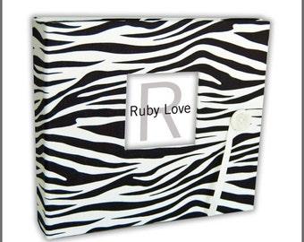 BABY BOOK | Black and White Zebra Album | Animal Print Baby Memory Book