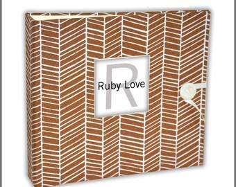 BABY BOOK | Brown Herringbone Baby Book | Baby Memory Books by Ruby Love Baby