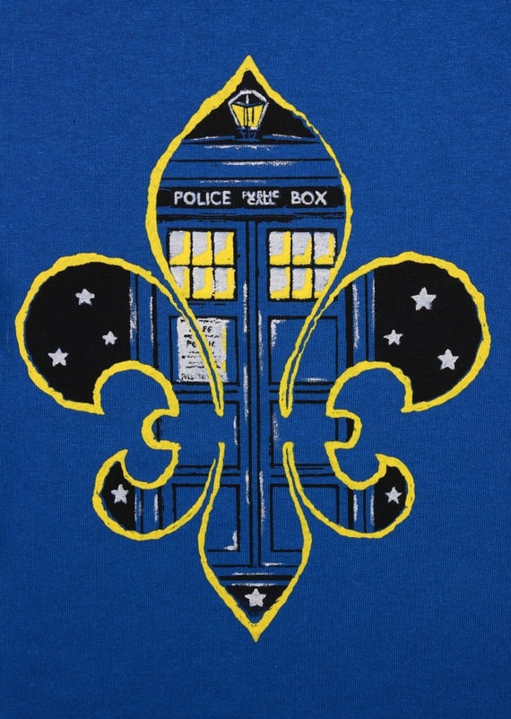 Doctor who new orleans screenprint t shirt dr who fleur de for Shirt printing new orleans