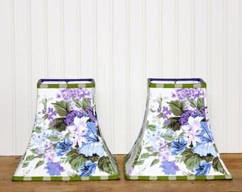 Chintz Lamp Shade Lampshade Vintage Blue Purple Green Floral Pendant
