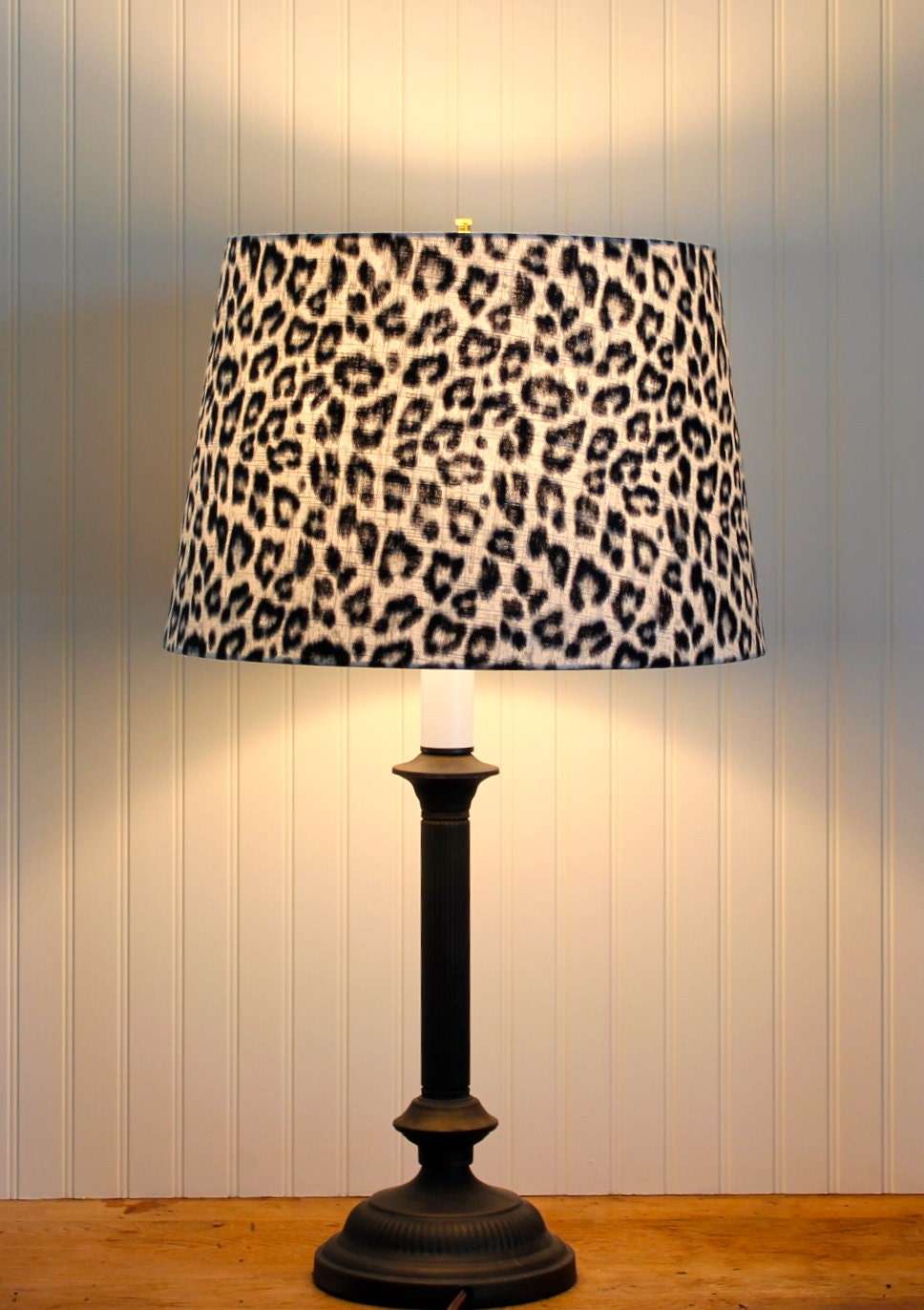 Leopard drum shade lamp shade pendant lampshade grey black for Floor lamp with leopard shade