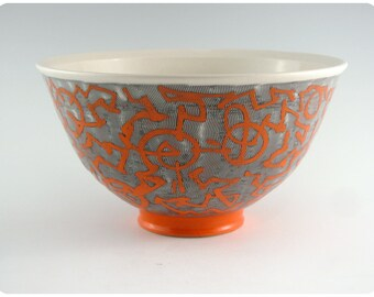 Etched Stoneware Bowl With Calligraphic Design