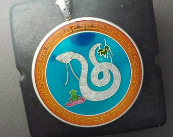 China - Year of the Snake Coin Pendant - Hand Painted