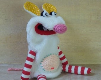 White mouse -  simple plush moving mouth hand puppet