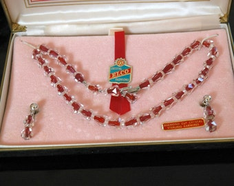 Vintage Red & Clear Crystal Riviere Necklace Earring Set, Elco Crystal Fashions Fifth Avenue, In Original Box, Diamond Cut, NOS Condition