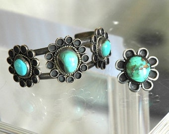 Very Old Navajo Bracelet & Ring, Flower Design, Gorgeous Mixed Blue/Green Stones, Size 6.5 Ring, Excellent Condition