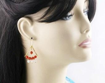 Salsa chandelier earrings - carnelian, and freshwater pearls