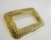Vintage gold and black abstract rectangle brooch (H5)