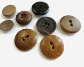 Vegetable Ivory Antique Buttons - 9 Vintage Early 1900s