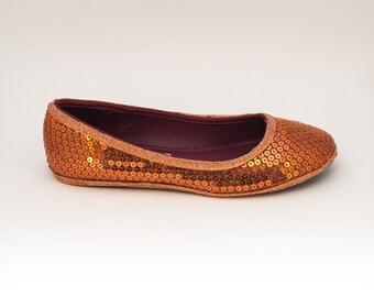 Sequin | Orange Ballet Flats Slippers Shoes