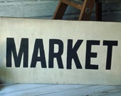 Market Sign Wall Decor Large Hand Painted Sign Distressed Wood Vintage Style  Black and White Rustic French Farmhouse Sign