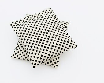 Moth Repellent Lavender Bags, Cream Black Polka Dot Sachets for Scented Drawers