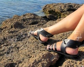 "Black  Greek Leather sandals with wings - High quality greek real leather - Gladiator sandals ""Black Hermes"""