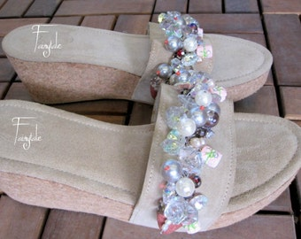 """Suede beige High heeled Leather sandals with Swarovski crystals - Wedges - """"Candy"""""""